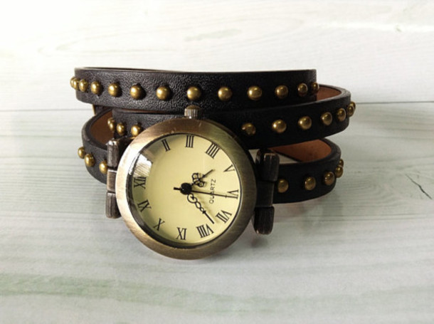 jewels wrap watch watch black studded jewelry watch leather watch vintage style fashion womens accessories