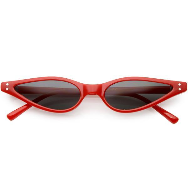 Women's Retro 1990's Thin Cat Eye Dual Rivet Sunglasses C624