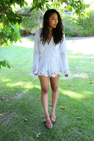 romper stone cold fox white lace plunge v neck revolve clothing revolveme
