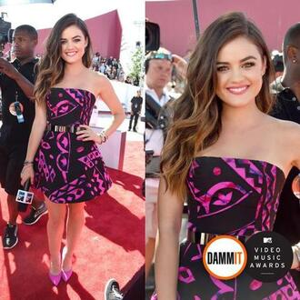 lucy hale purple belt heels smile colorful mtv vma curly hair hair perfect dress
