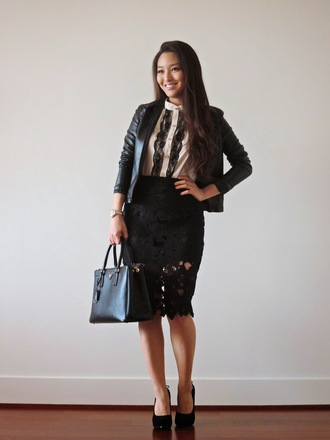 sensible stylista blogger bag jacket tank top black and white lace skirt pencil skirt black skirt black heels office outfits shoes skirt jewels