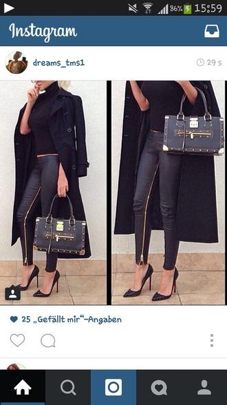 pants leather pants black and gold fashion zipped pants