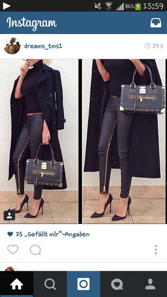 pants leather pants black and gold fashion zipped pants