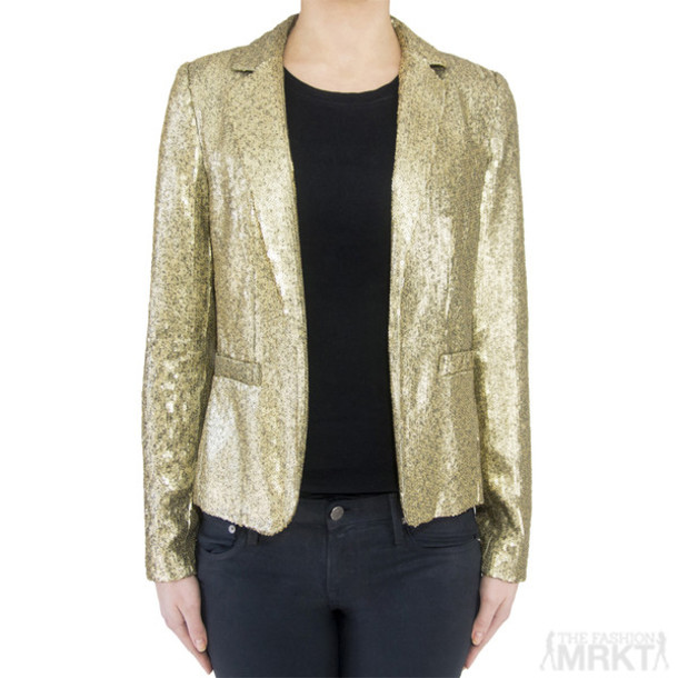 Jacket: blazer, sequin jacket, gold sequin blazer, michael michael ...