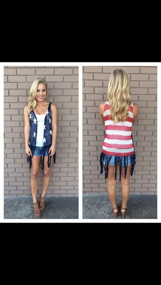 usa flag cardigan red white and blue vest fourth of july