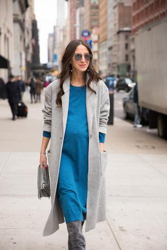 something navy blogger shoes coat dress bag sunglasses jewels grey coat blue dress boots spring outfits