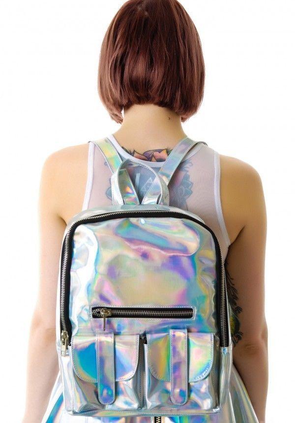 2014 silver hologram backpack shoulder message bag daily backpack zipper bag