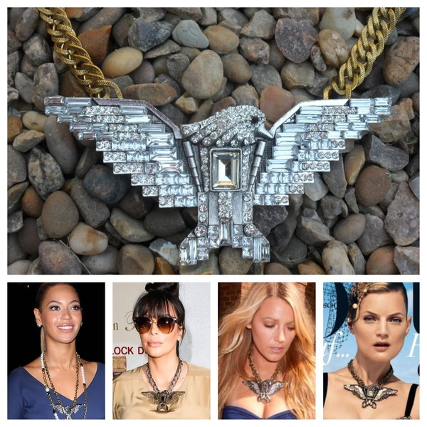 jewels eagle neck eagle necklace crystal statement necklace beyonce bliing bling catwalk kim kardashian