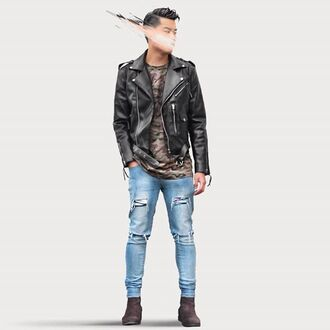 jacket maniere de voir classic leather biker black fauc faux belted blue ripped jeans camouflage 36683