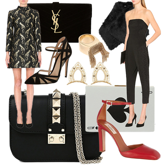 the fashion guitar blogger bag jewels jumpsuit gun patterned dress heels