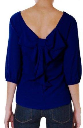 Amazon.com: Humble Chic NY Women's Bow Back Short Sleeve Chiffon Top: Clothing