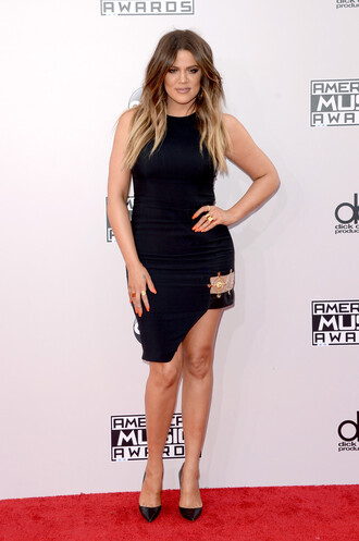 black party dress dress little black dress khloe kardashian high-low dresses american music awards