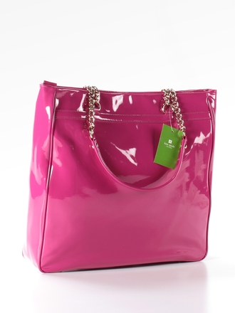 bag kate spade kate spade new york pink hot pink handbag tote bag chain bow metalic shiny pink bow shoulder bag