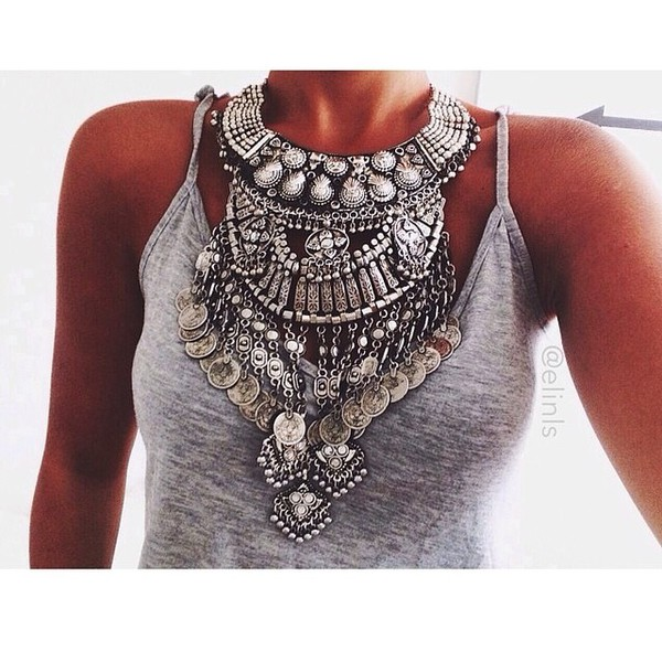 jewels necklace jewerly silver gemstone statement necklace top boho necklace bib necklaces coin necklace metal