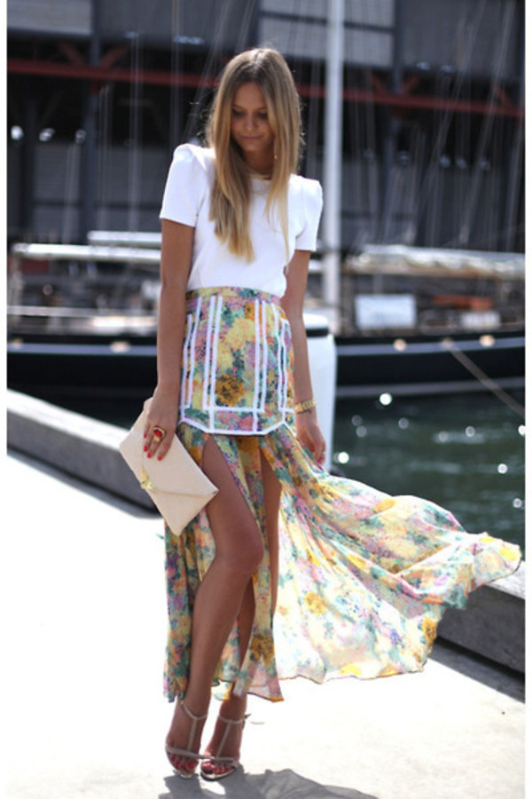 skirt floral white piping maxi skirt shirt