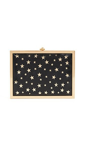 alice + olivia laser cut clutch stars gold black bag