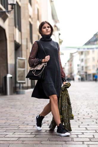 the fashion fraction blogger blouse top shoes bag jacket sleeveless turtleneck sweater sweater dress slit sweater turtleneck grey sweater sneakers converse high top converse black converse black bag chloe bag black knit dress
