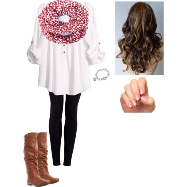 scarf heart scarf white blouse black pants blouse