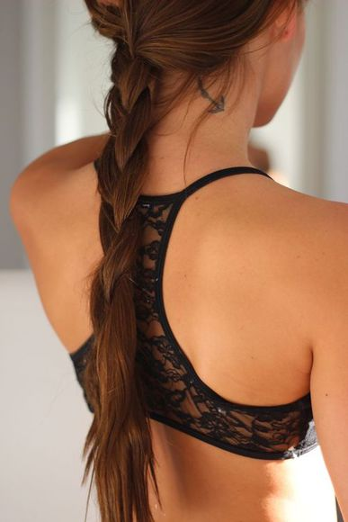 underwear lace black top girl bra cool cute long hair braid tumblr sports bra tank top sports bra, lace, bra, black