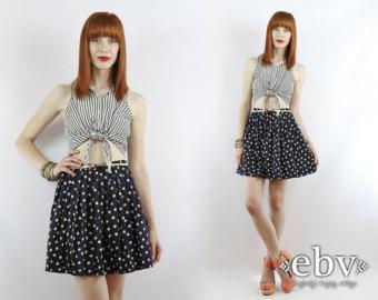 Vintage 90's black and white polka dot mini skirt / polka dot high waisted skirt