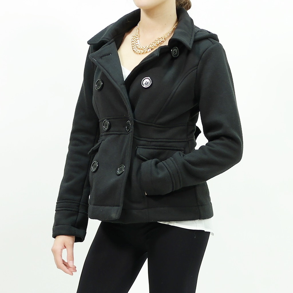 Up removable hoodie cotton fleece Coat Black