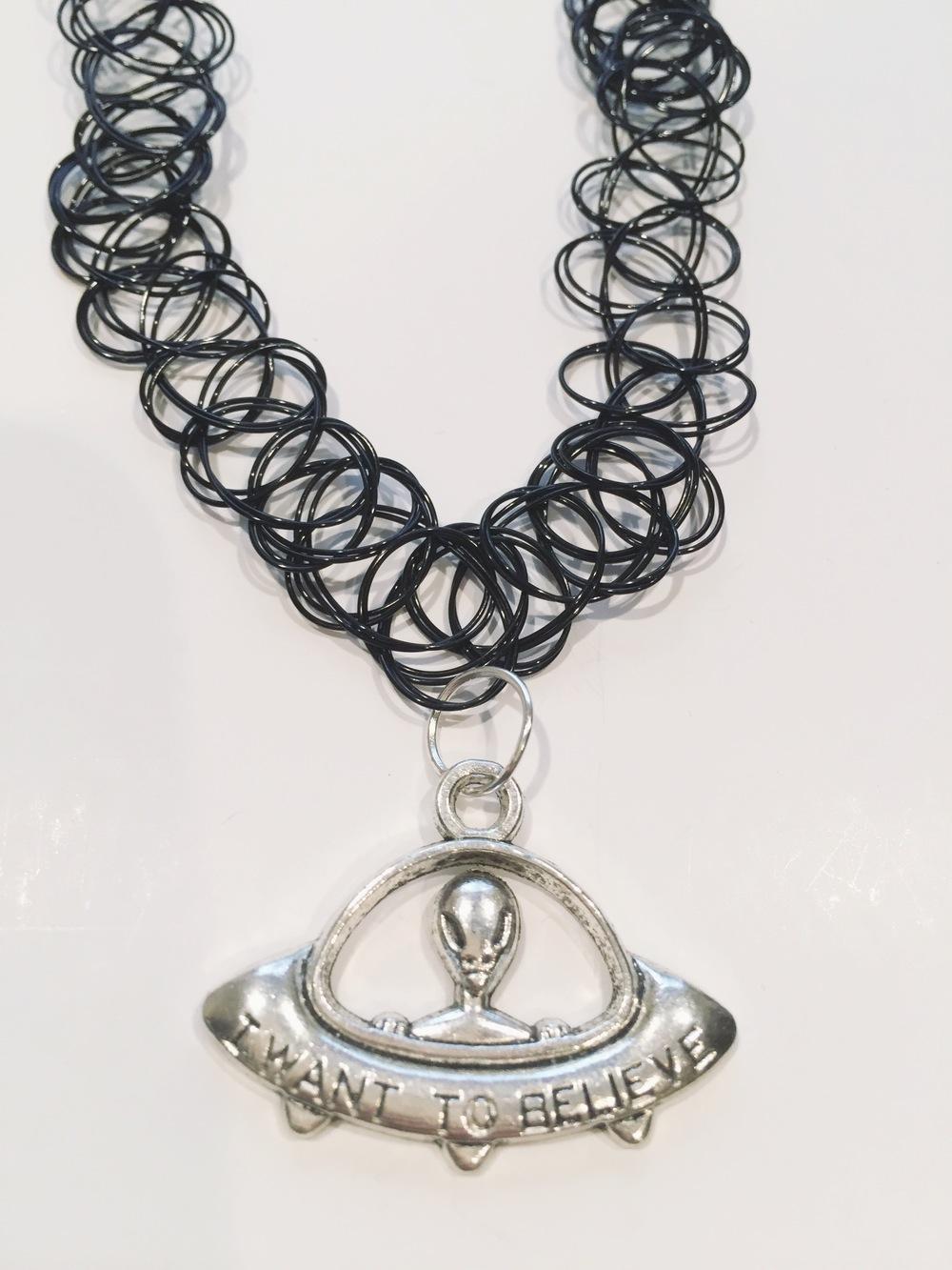 Raina i want to believe alien tattoo choker necklace