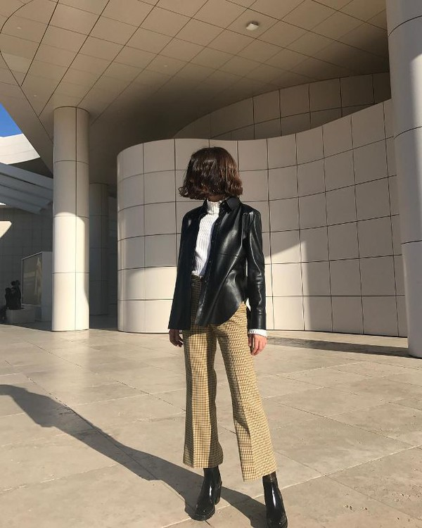 jacket leather jacket boots wide-leg pants checkered sweater
