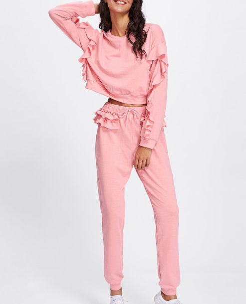 pants girly frilly pink two-piece sweater joggers