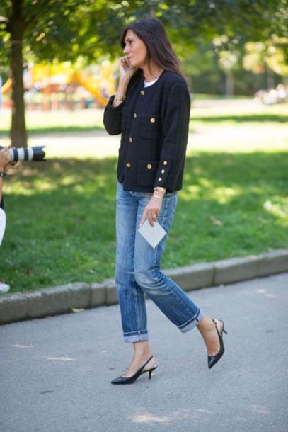 shoes kitten heels tumblr blue jeans black heels mid heel sandals cuffed jeans denim jeans jacket black jacket streetstyle fall outfits