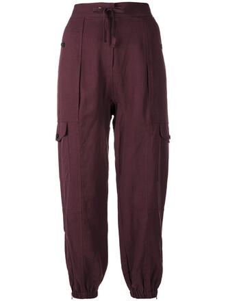 pants drawstring pants women drawstring cotton purple pink