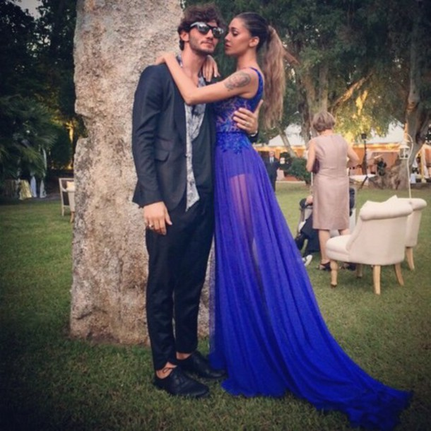 Abito Matrimonio Uomo Azzurro : Couple navy blue dress prom wedding