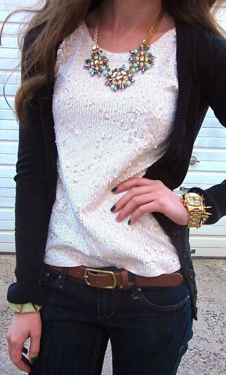 blouse fall outfits cardigan necklace sequins outfit idea