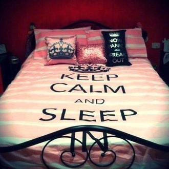 coat bedding keepcalm sleepy jewels doona cover pink keep calm black crown quote on it new years resolution pink and white stripes bag home accessory blanket bedroom girly pillow