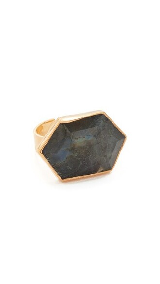 ring gold black jewels