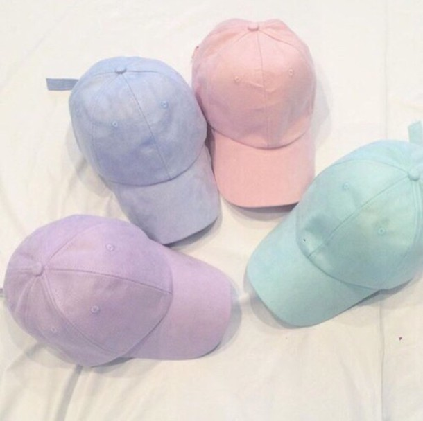 hat blue pink purple green yellow white orange pale pastel vintage summer  bright 9067f2a4fab