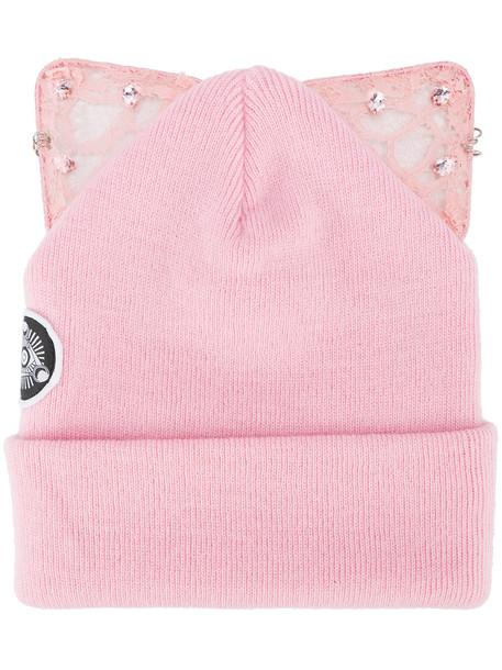 embellished cat ears beanie silver pink purple hat