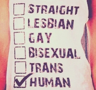 shirt white black tank top straight lgbt human being human gay pride