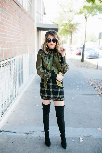 lifelutzurious blogger top skirt shoes sunglasses jewels green blouse thigh high boots boots mini skirt