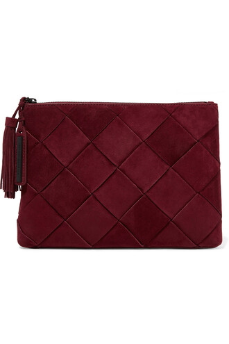 clutch suede burgundy bag