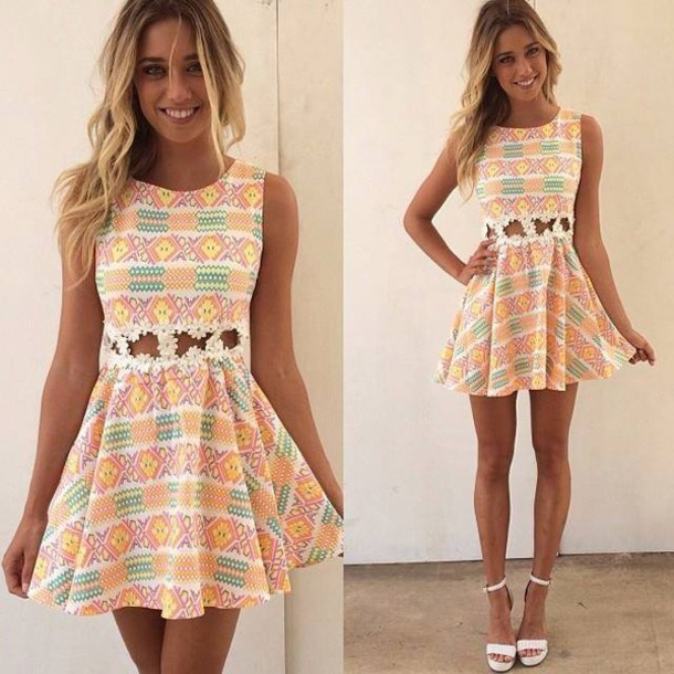 7fe7b1342af dress summer dress floral dress flowers skater dress colorful dress