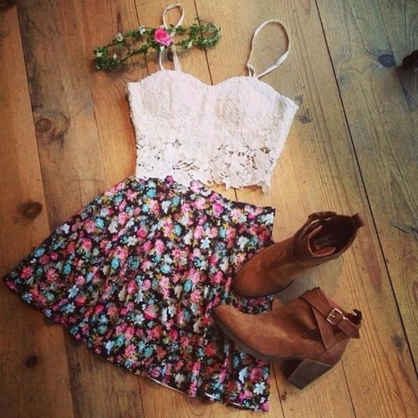 shirt white crop tops skirt shoes floral skirt white lace crop top tank top white crop tops spitze top