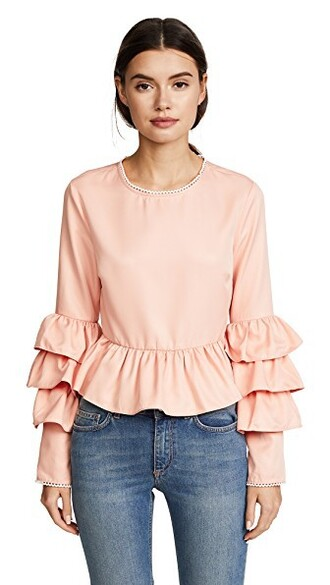 blouse ruffle nude pink top