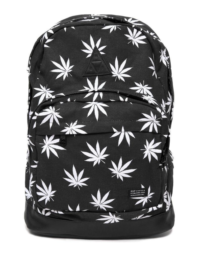 Huf plantlife pot leaf weed print backpack school bag