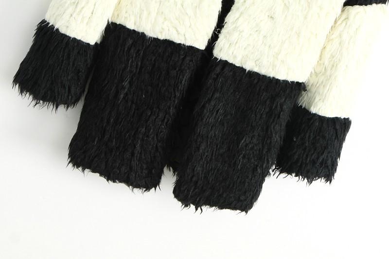 Black White Long Sleeve Shaggy Coat - Sheinside.com