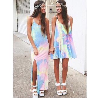 spaghetti strap tie dye dress maxi dress short dress hair accessories
