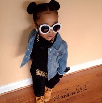 sunglasses girl girly toddler kids fashion leopard print denim jacket bun gold black chain timberlands gold chain sweatpants nyla milan jumpsuit