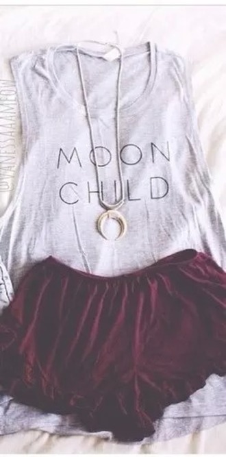 top grey grey top moon child moon child top girl moon lune luna girly hipster unique