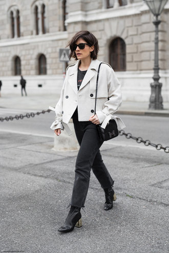 viennawedekind blogger jacket t-shirt jeans shoes bag white jacket hermes bag hermes spring outfits ankle boots
