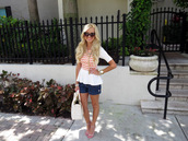a spoonful of style,t-shirt,shorts,shoes,bag,sunglasses,jewels