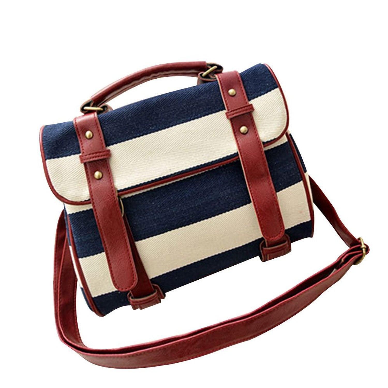 Navy Style Retro Stripe Print Motorcycle Bag Handbag: Handbags: Amazon.com